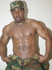 Black soldier jacking off