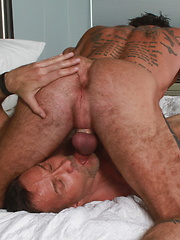 Ray Dalton kneels down in front of Matt Sizemore bobbing rod as he swallows his dick balls deep