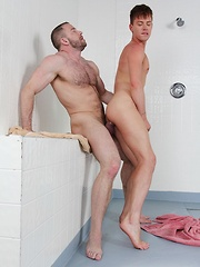 Young and hung Kyler Ash soaps up muscle daddy Shay Michaels