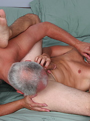 Mature gay Jake blows Andrew\'s dick