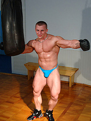 Muscle man Nemeth boxing and jacking off