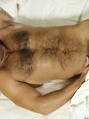 Strong daddy with hairy chest solo masturbation
