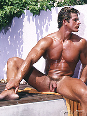 Bronzed bodybuilder from 80s solo shoots