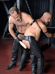 Naked bald daddy Forrest Gunner is brought in and strapped standing up to a big X