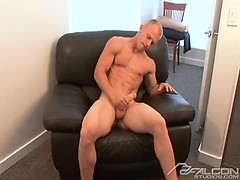 Straight blonde man jerks off his nice dick