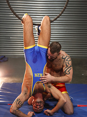 Two lycra gays have anal in circus decoration