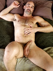 Straight daddy bares his hairy chest and huge dick