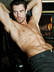 Lucas exclusive model Adrian Long fucks Sam Steels ass by the fire