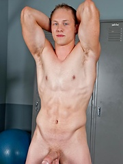 Hot student Stephen Brooks working out in the gym