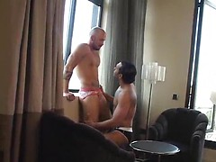 Bald gay drills another guy mouth