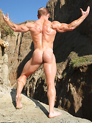 Muscle hunk Ben posing outdoor